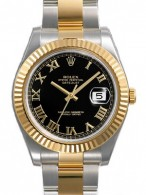 Rolex Datejust II Black Roman Dial 18k Yellow Gold Fluted Bezel Two Tone Oyster Bracelet Mens Watch