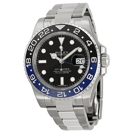 Rolex GMT Master II Black Dial Stainless Steel Mens Watch