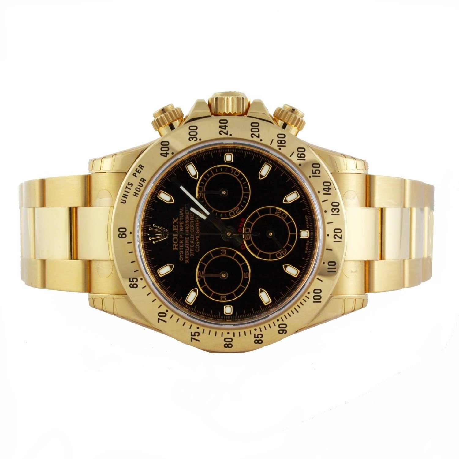 Rolex Daytona 18K Yellow Gold Black Dial Watch